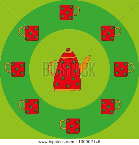 Dotted red teapot and cups on a green background. Bright vintage tea-set. Vector illustration