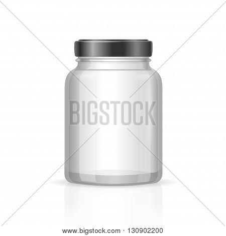 Glass Jars Bottles Empty Transparent. Vector illustration