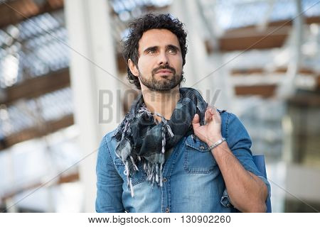 Portrait of a man shopping alone