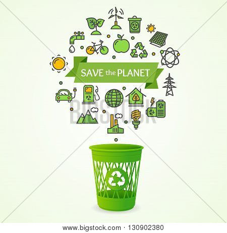 Recycled Concept with Ribbon and Inscription. Vector illustration