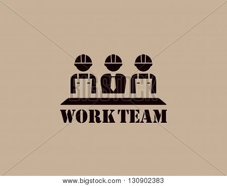 industrial icon with business work team silhouette