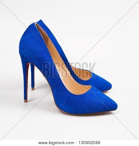 Female Blue High-heeled Shoes