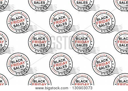 Black Friday sales stamp pattern for fabric, wrapping paper, textile industry etc. Print colors used. Print colors used. Pattern is to be found in the swatch panel