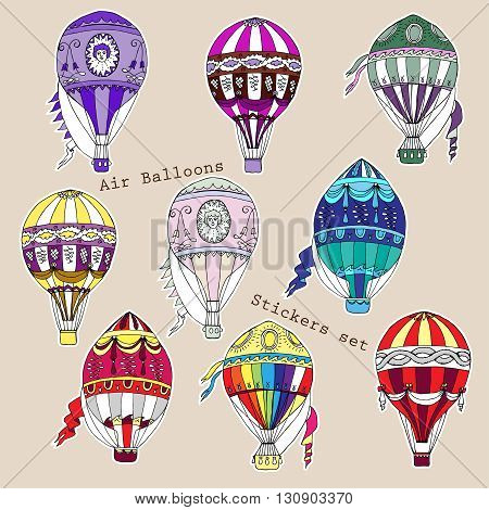 Colored hot air balloons stickers set. Hand drawn sketches vector illustration