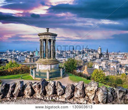 Edinburgh Panorama With Calton Hill In Scotland