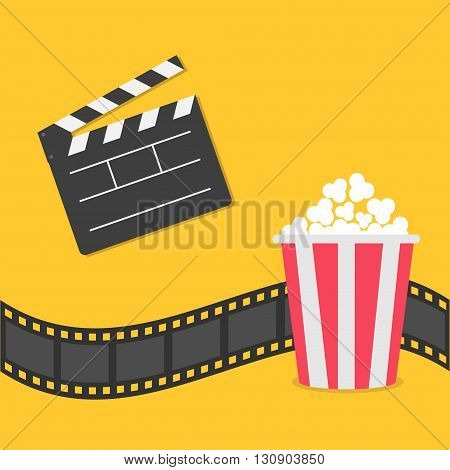 Popcorn. Film strip border. Open movie clapper board icon. Red yellow box. Cinema movie night icon in flat design style. Yellow background. Vector illustration