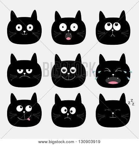 Cute black cat head set. Funny cartoon characters. Emotion collection. Happy surprised crying sad angry cat. White background. Isolated. Flat design Vector illustration
