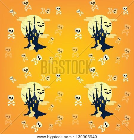 Cute Halloween pattern with castle, bats and skulls, for fabric, wrapping paper,etc. Print colors used.