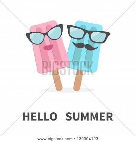 Ice cream couple with lips mustaches and eyeglasses. Hello summer greeting card. White background. Isolated. Flat design Vector illustration.