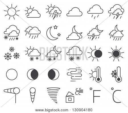Set of weather icons vector illustration.