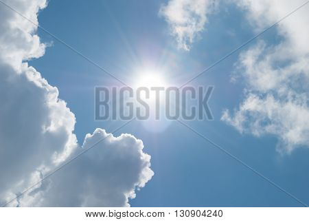 Sun and clouds against a blue sky. Day skyscape.
