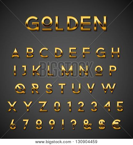 Rich golden alphabet collection on gradient background