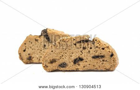 rich cookies with chocolate isolated on white background