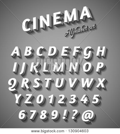 Cinema style characters set black & white colors