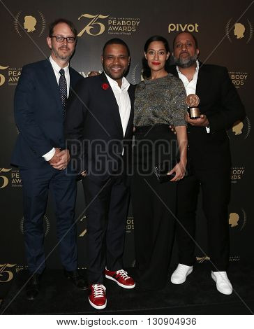 NEW YORK-MAY 21: (L-R) Jonathan Groff, Anthony Anderson, Tracee Ellis Ross and Kenya Barris attend the 75th Annual Peabody Awards Ceremony at Cipriani Wall Street on May 21, 2016 in New York City.