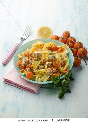 pasta with swordfish ragout, selective focus
