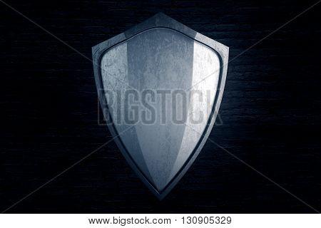 Empty silver shield on black brick background. Mock up 3D Rendering