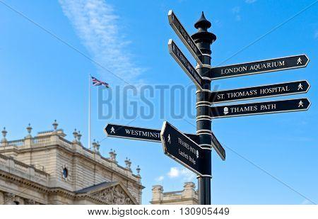 London a touristic signal in Parliament square