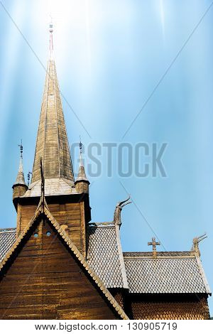 Old wood stave church in Lom Norway