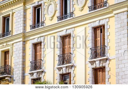 Facade of a house with balconies on the south of France, Cote d'Azur