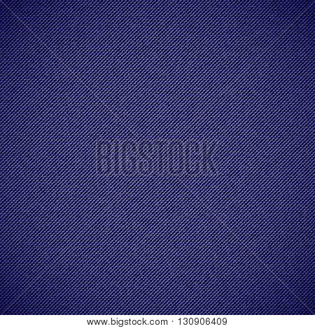 Realistic jeans seamless texture in deep blue colors. Denim pattern background. Vector illustration