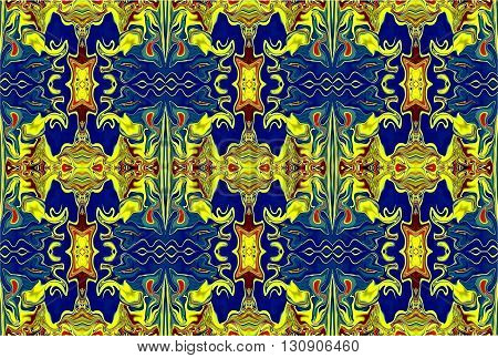 Oriental patterns - the language of the soul The picture shows the oriental patterns mainly blue and yellow colors.