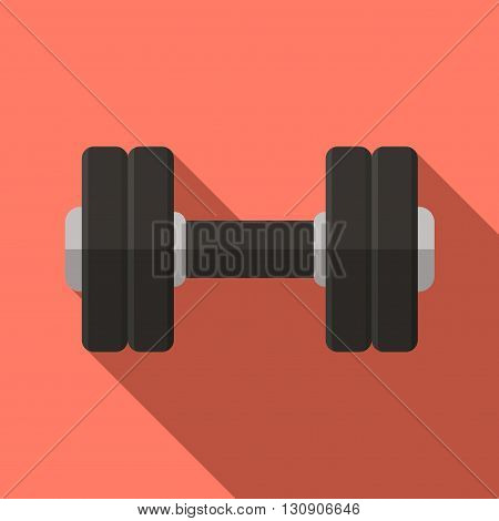 Vector illustration. Icon of toy dumbbell with a matt black handle in flat design with shadow effect