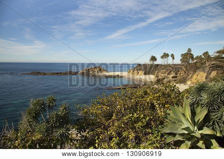 View towards the sea from the clifftops at Laguna Beach, Orange County, California, USA
