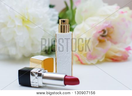 Women's Cosmetics. Perfume And Lipsticks
