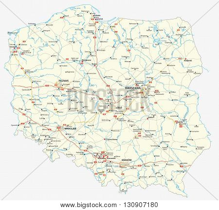 vector road map of the Republic of Poland