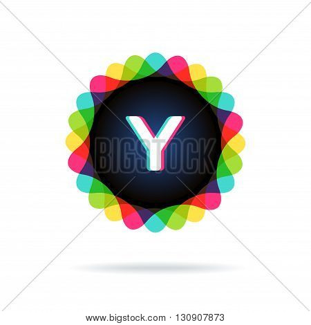 Retro bright colors Logotype, Letter Y, isolated on white