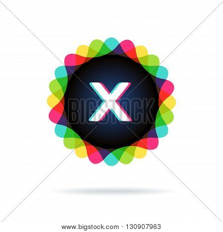 Retro bright colors Logotype, Letter X, isolated on white
