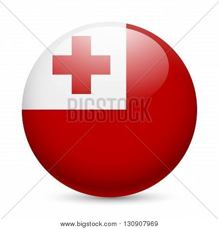 Flag of Tonga as round glossy icon. Button with Tongan flag