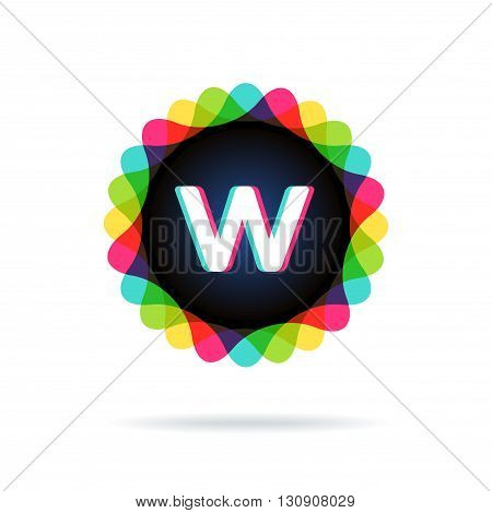 Retro bright colors Logotype, Letter W, isolated on white