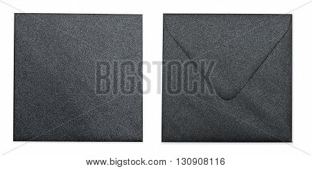 Black Metallic Envelope With Clipping Path