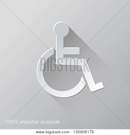 Wheelchair Accessible Flat Icon Design. Easy to manipulate, re-size or colorize.