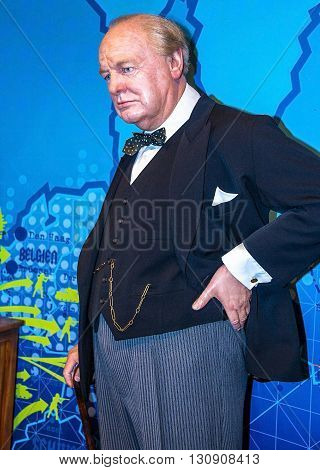 LONDON UK - JUNE 7 2015: Winston Churchill at the Madame Tussauds wax museum. Marie Tussaud was born as Marie Grosholtz in 1761