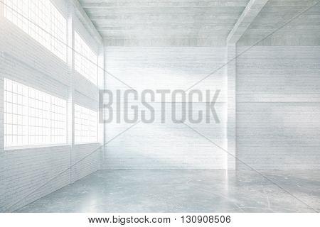 Hangar interior with brick walls windows and concrete floor. 3D Rendering
