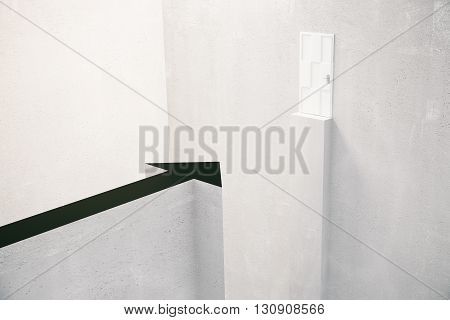 Obstacle overcoming concept with arrow in front of gap and door