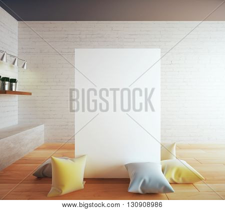Blank banner surrounded with colorful pillows in interior with brick wall wooden floor and shelves. Mock up 3D Rendering