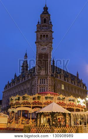 Chamber of Commerce and Industry in Lille in France during Christmas