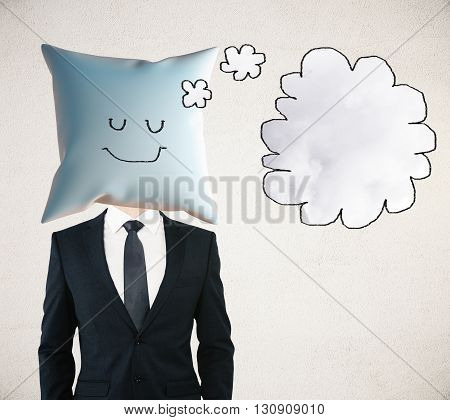 Sleeping businessman with smiley on pillow instead of head dreaming about something with thought bubble. Mock up