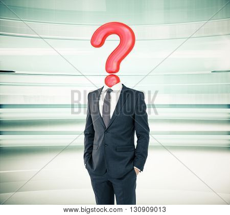 Businessman with question mark head on abstract green background