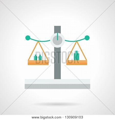 Balanced scales with green weights. Weight measurement for pharmacy, store, economy. Measuring equipment. Flat color design vector icon.