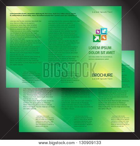 Business brochure design template green gradient transparent