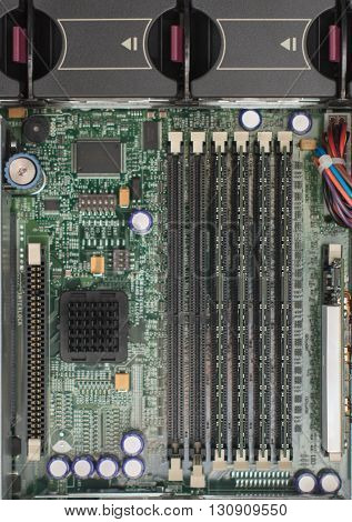 Inside Of Server Pc. Motherboard And Ram Memory.