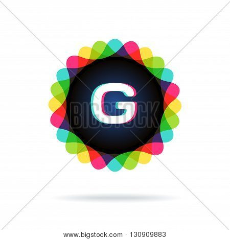 Retro bright colors Logotype, Letter G, isolated on white