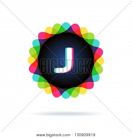 Retro bright colors Logotype, Letter J, isolated on white