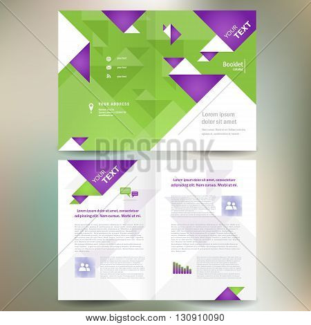 booklet catalog brochure folder geometric triangle origami abstract element green color background
