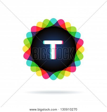Retro bright colors Logotype, Letter T, isolated on white